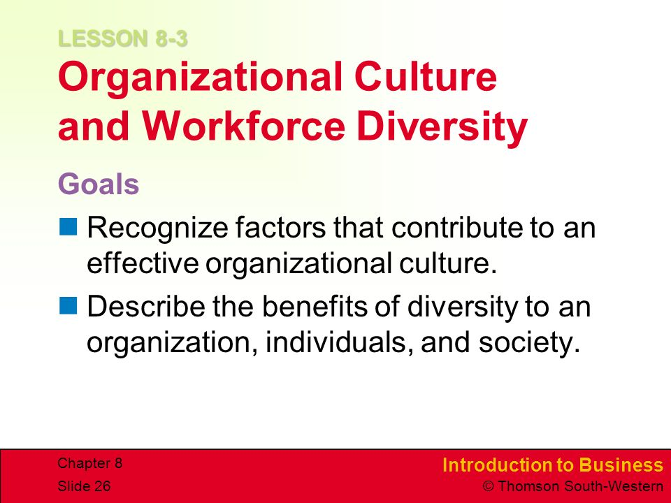 LESSON 8-3 Organizational Culture and Workforce Diversity