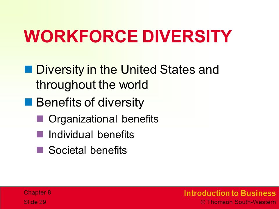 WORKFORCE DIVERSITY Diversity in the United States and throughout the world. Benefits of diversity.