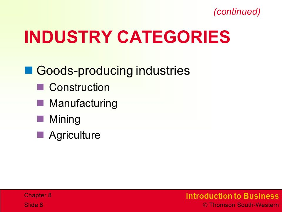 INDUSTRY CATEGORIES Goods-producing industries Construction