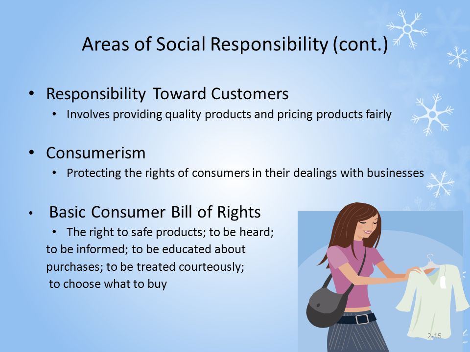 Areas of Social Responsibility (cont.)