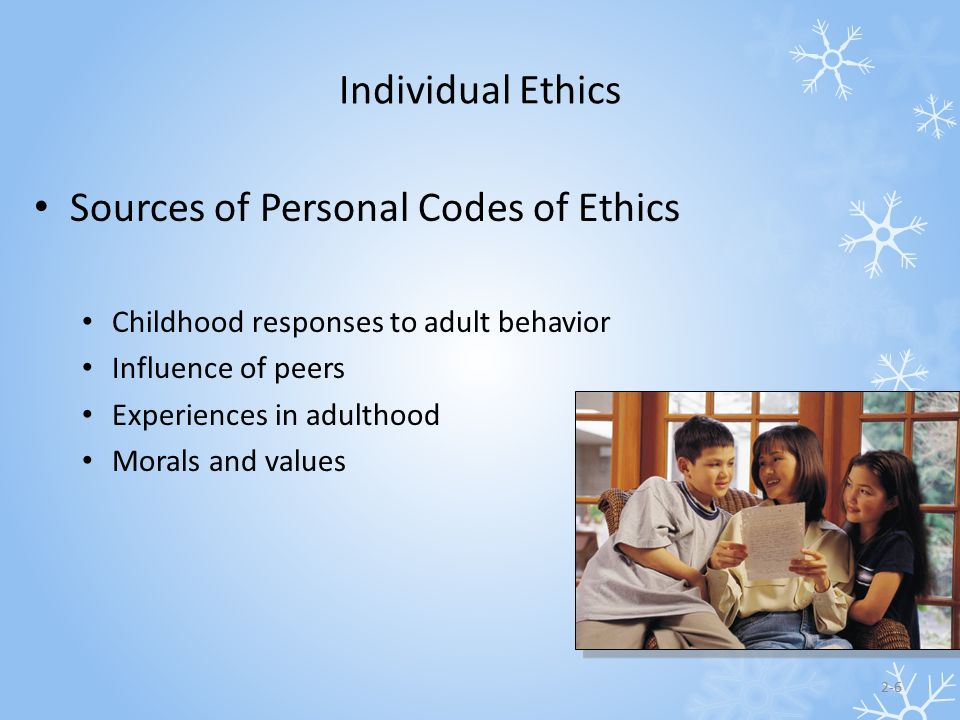 Sources of Personal Codes of Ethics