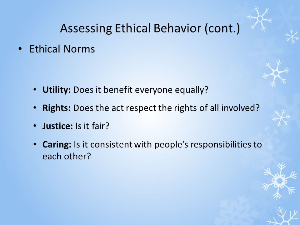 Assessing Ethical Behavior (cont.)