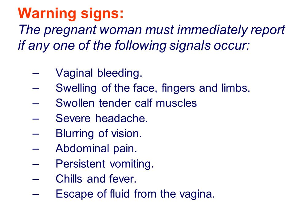 warning signs of pregnancy pdf