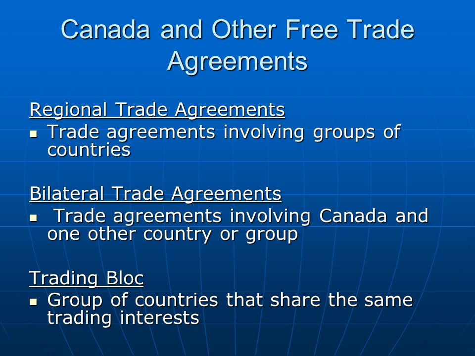 canada international trade agreements Treaties can be referred to by a number of different names: international conventions, international agreements, covenants, final acts, charters, protocols, pacts, accords, and constitutions for international organizations usually these different names have no legal significance in international.