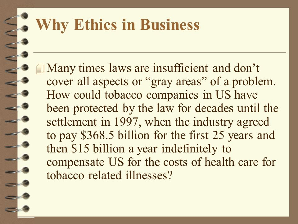 the ethics of the tobacco industry Read this essay on examining the application business ethics and laws in the tobacco industry come browse our large digital warehouse of free sample essays get the knowledge you need in order to pass your classes and more only at termpaperwarehousecom.