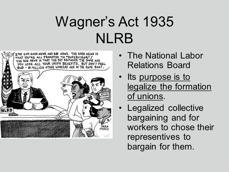 national labor relations act essay Distinguish between protected and unprotected conduct under the national labor relations act choose the side of the employer or.