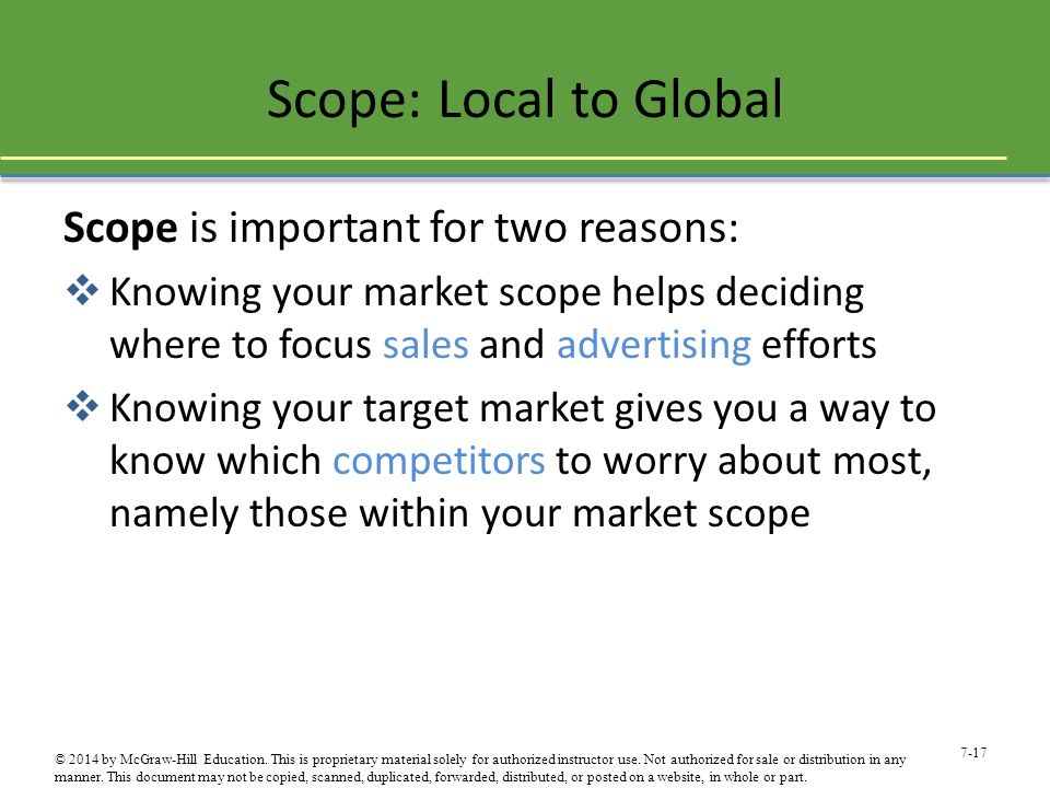 Scope: Local to Global Scope is important for two reasons: