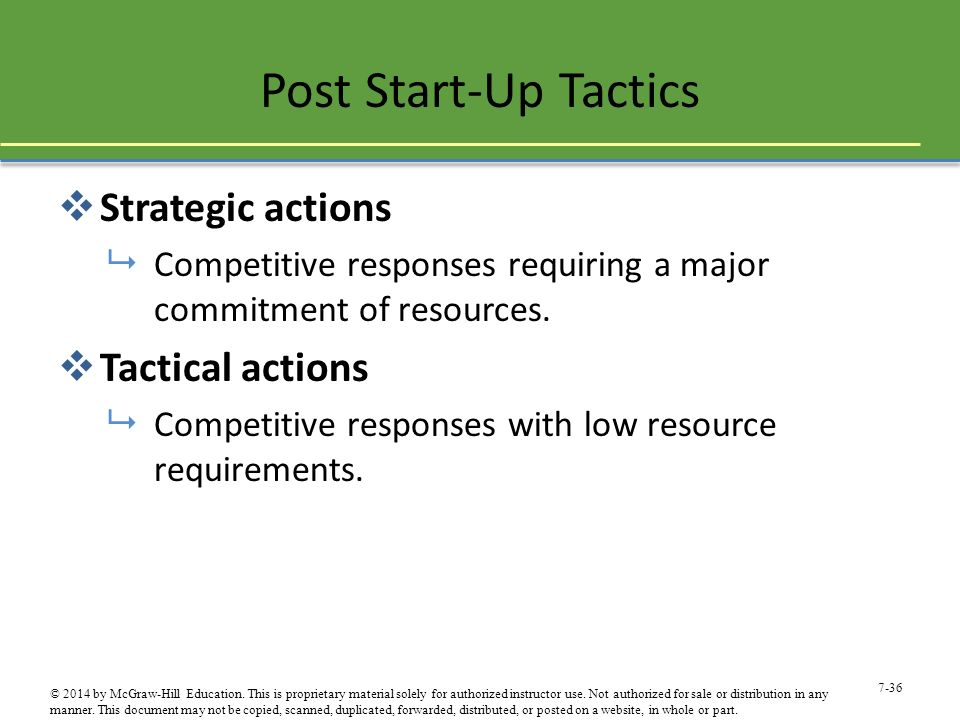 Post Start-Up Tactics Strategic actions Tactical actions