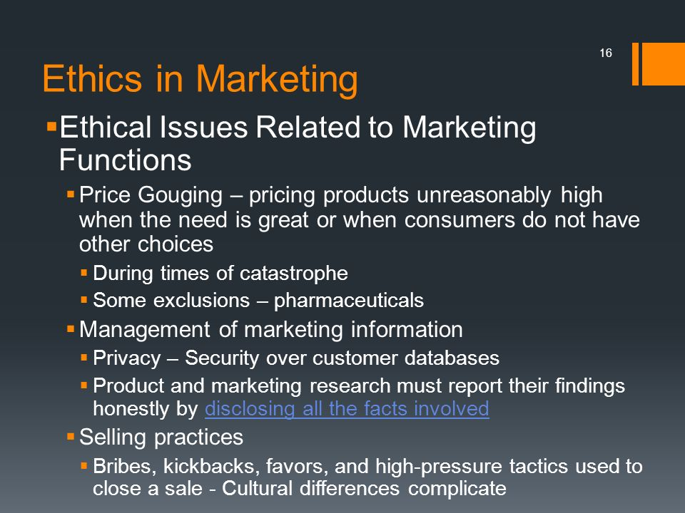 Ethics in Marketing Ethical Issues Related to Marketing Functions