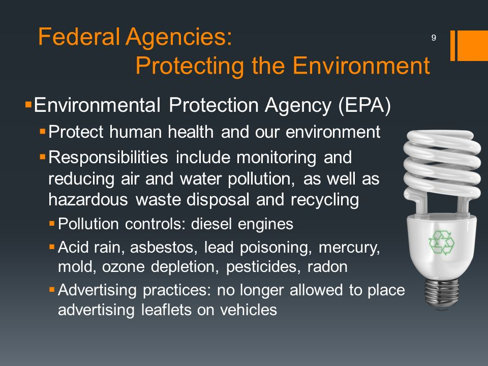 Federal Agencies: Protecting the Environment