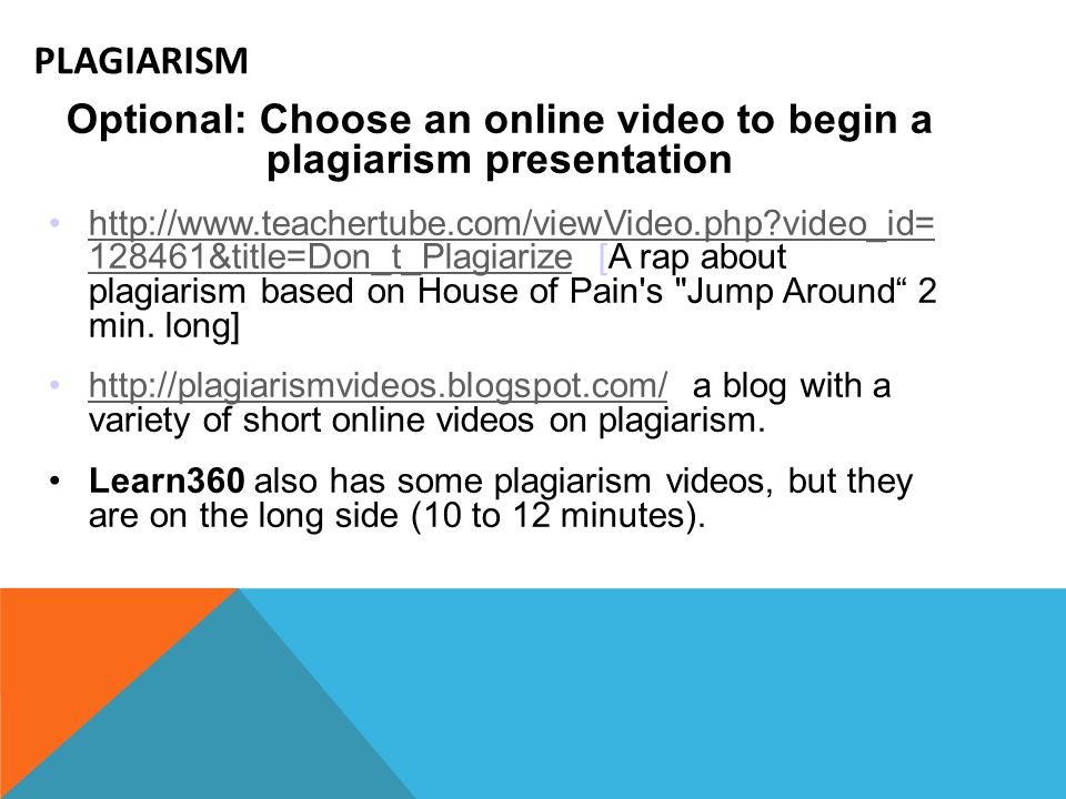 Optional: Choose an online video to begin a plagiarism presentation