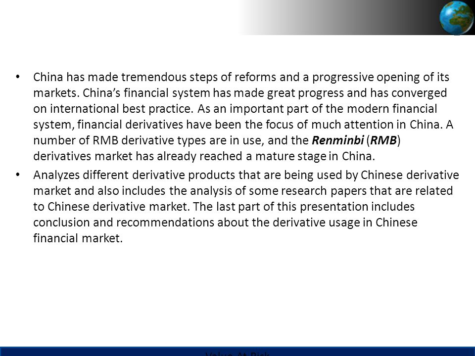 the use of derivatives in the financial market and its impact 1-provisional title: the impact of financial derivatives market on the uk economy-: before, during and after the 2008 financial crisis 2-rationale the operations of the derivative market has become a rising concern today in the world and in the uk in particular as this market could destabilize the.