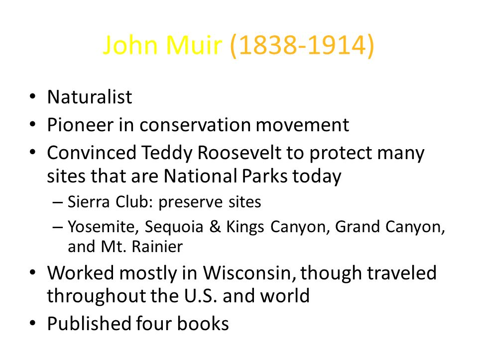 John Muir ( ) Naturalist Pioneer in conservation movement