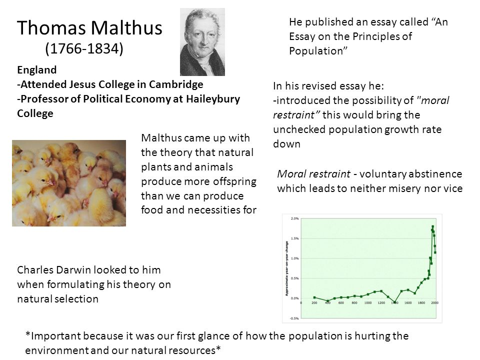 Thomas Malthus He published an essay called An Essay on the Principles of Population (1766-1834)
