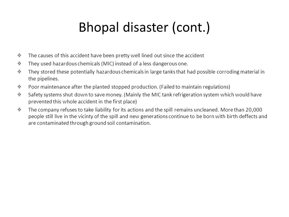 Bhopal disaster (cont.)