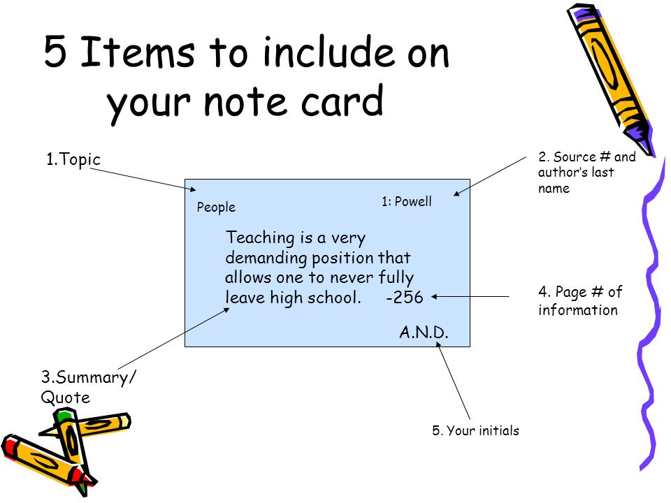 5 Items to include on your note card