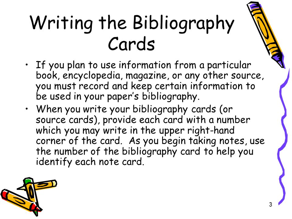 Bibliography card format