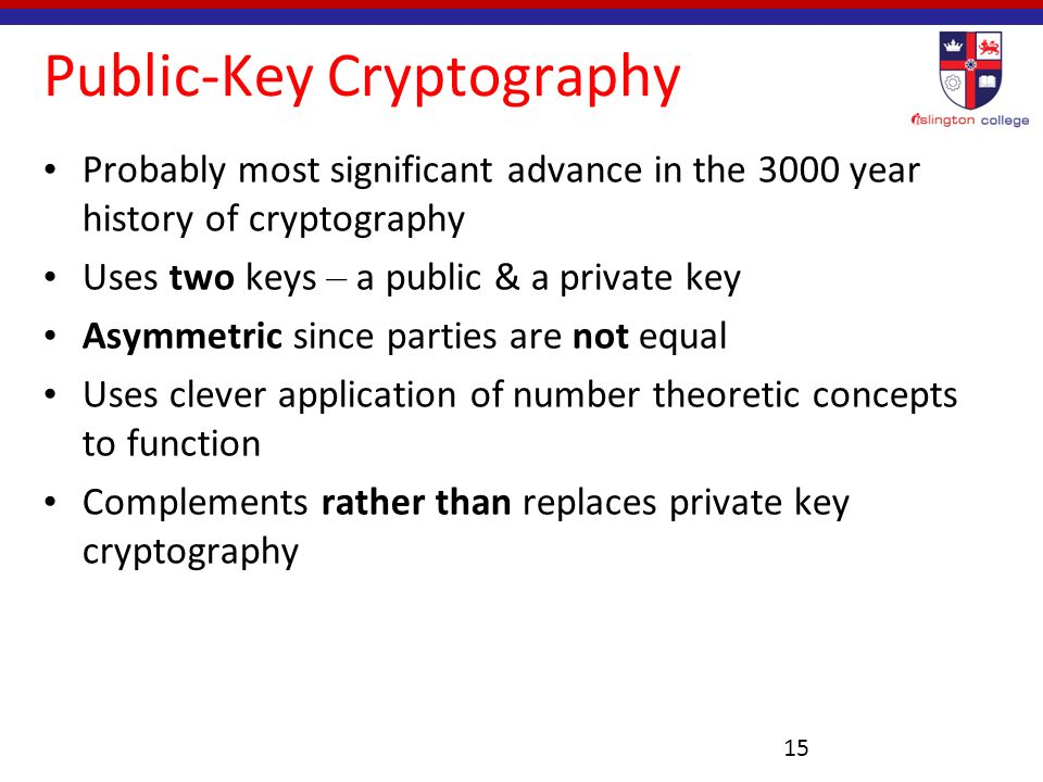 a history of public key encryption This key, which both parties kept absolutely secret, could then be used to  exchange encrypted messages a number of significant.