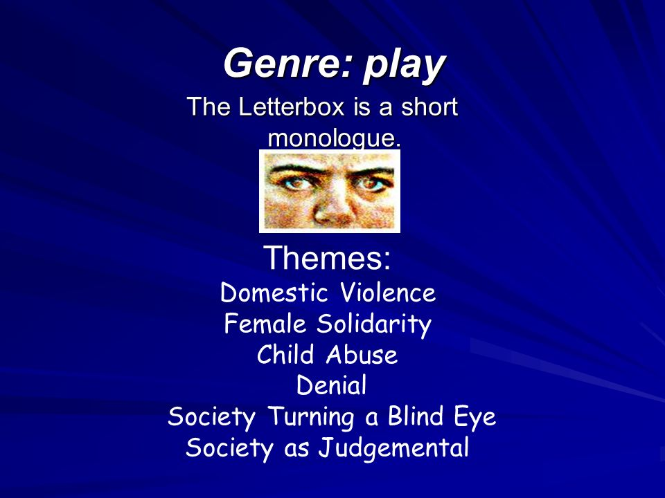 an analysis of domestic violence in the letterbox by anne di mambro The letterbox by ann marie di mambro today we will - see how the themes and issues in the letterbox are explored by the writer's craft revisit how to use a pee table to gather information for critical essay notes.
