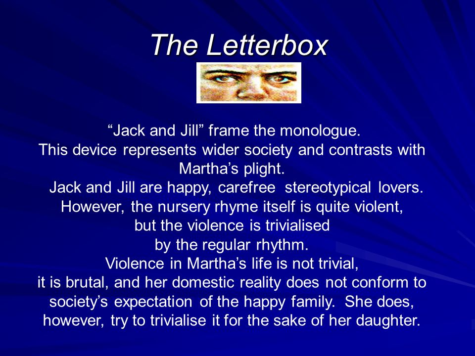 an analysis of domestic violence in the letterbox by anne di mambro The letterbox by ann marie di mambro  domestic violence female solidarity child abuse denial society being judgemental and ignoring truth the letterbox : themes.