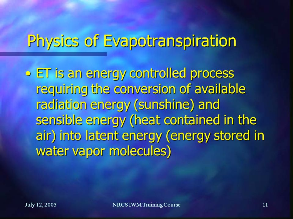 Physics of Evapotranspiration