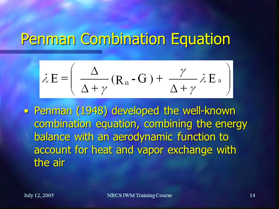 Penman Combination Equation