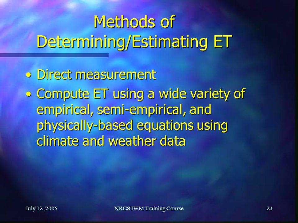 Methods of Determining/Estimating ET