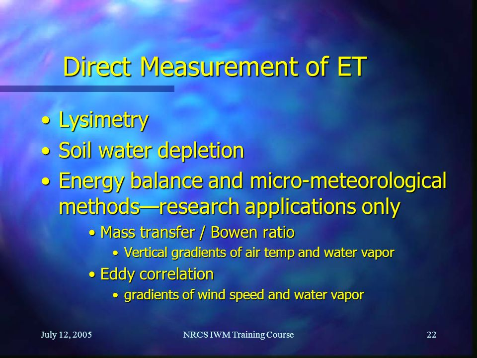 Direct Measurement of ET