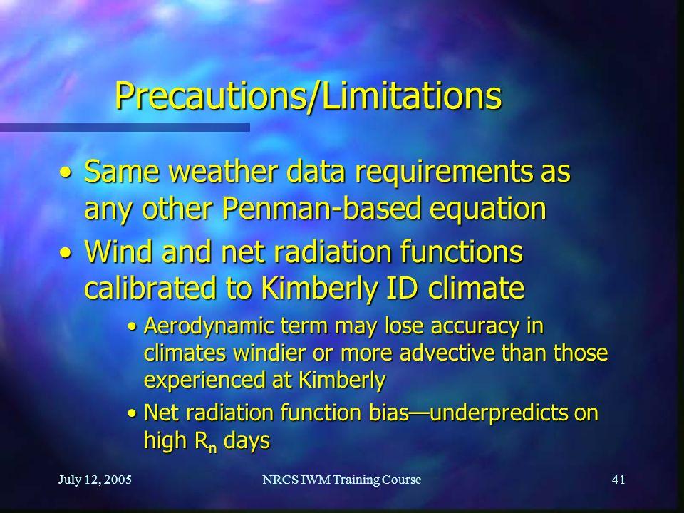 Precautions/Limitations