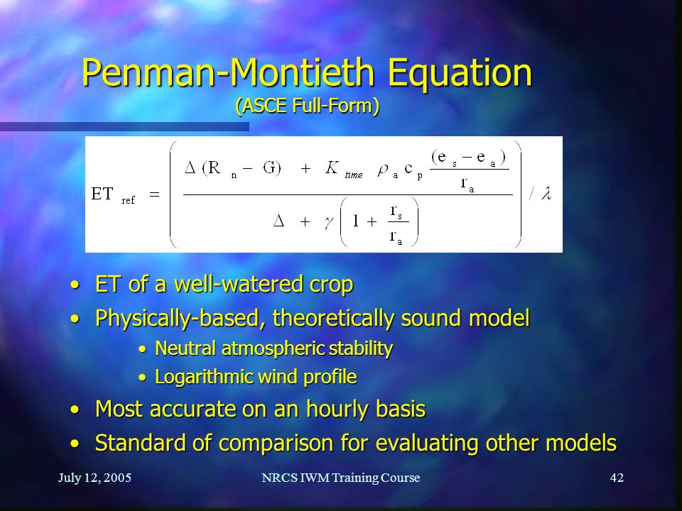 Penman-Montieth Equation (ASCE Full-Form)
