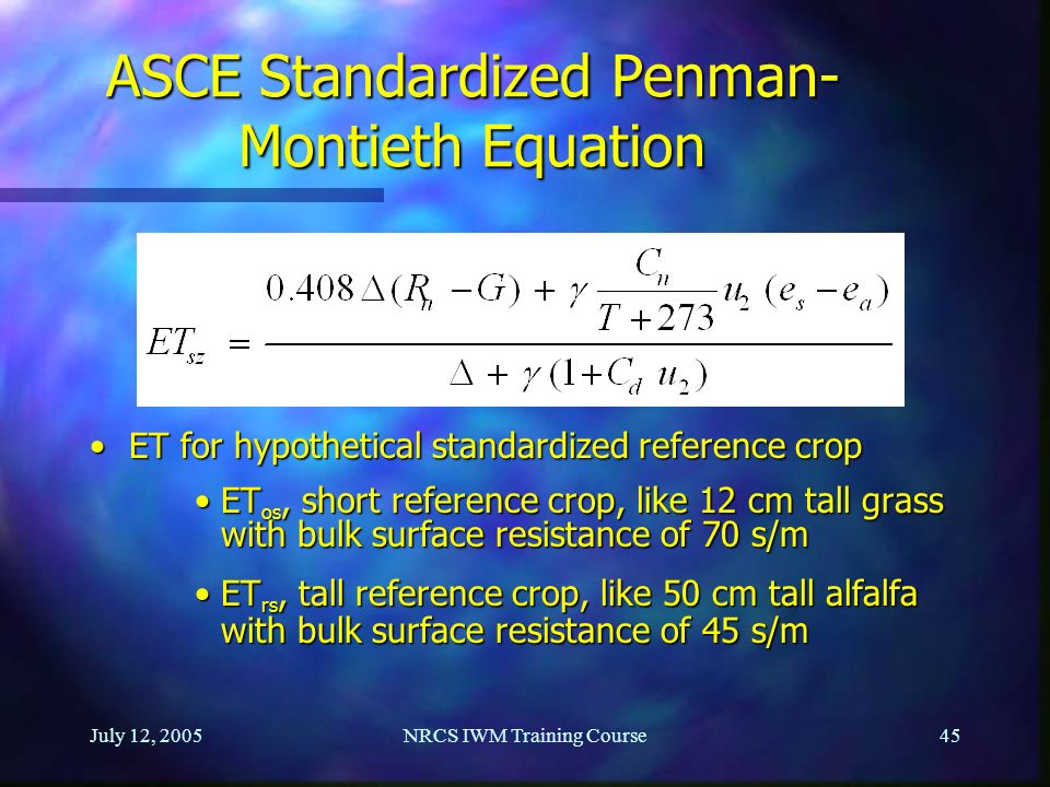ASCE Standardized Penman-Montieth Equation
