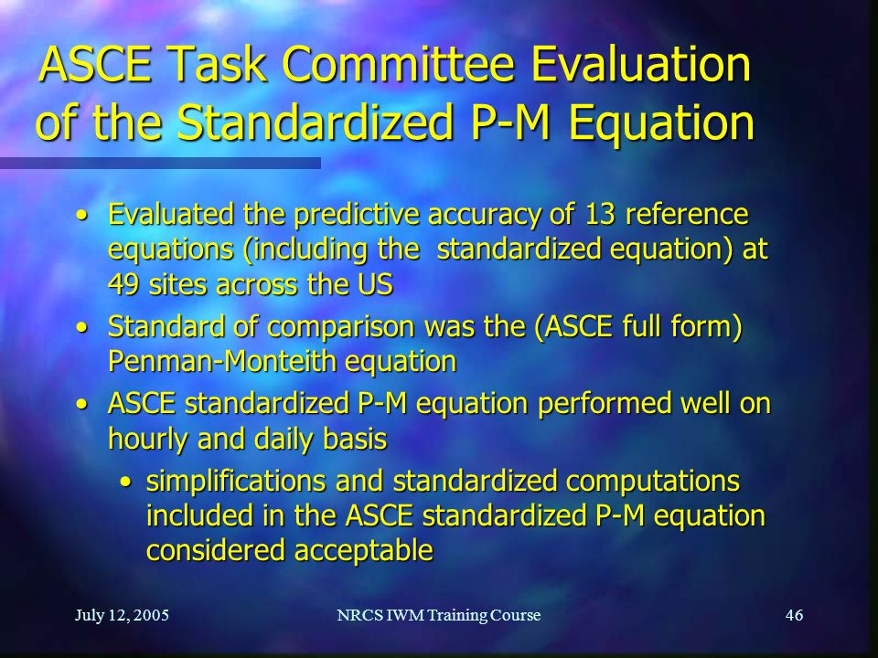 ASCE Task Committee Evaluation of the Standardized P-M Equation