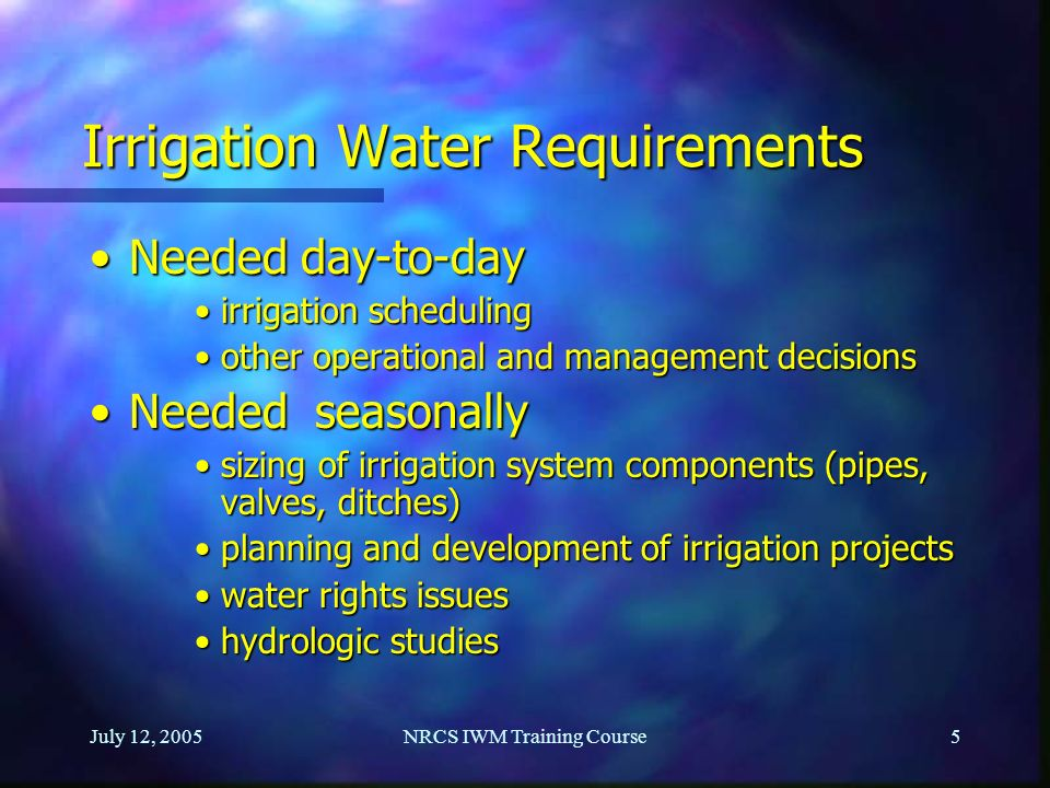 Irrigation Water Requirements