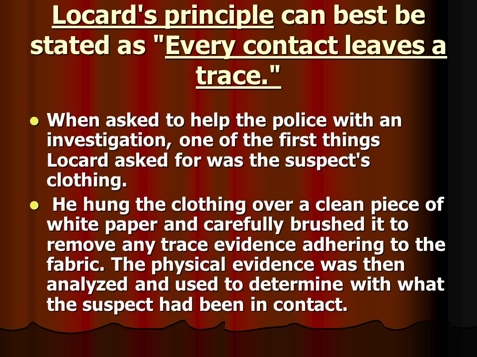 locards principle Locard exchange principle worksheets - showing all 8 printables worksheets are locards exchange principle, 2010 lab forensic science, chapter crime scene investigation.