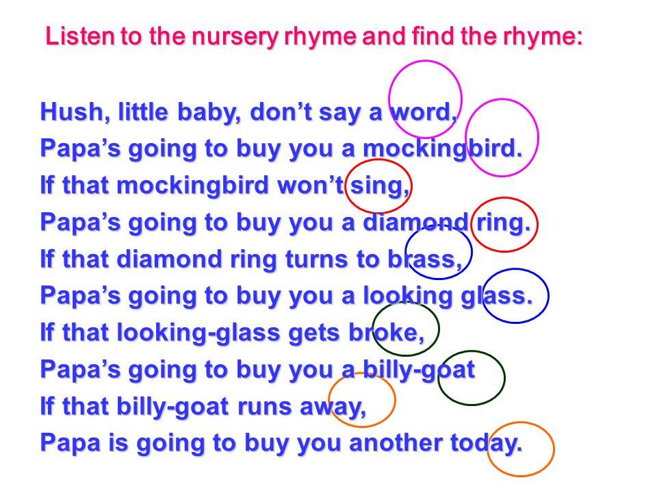Nursery Rhymes Hush Little Baby Thenurseries
