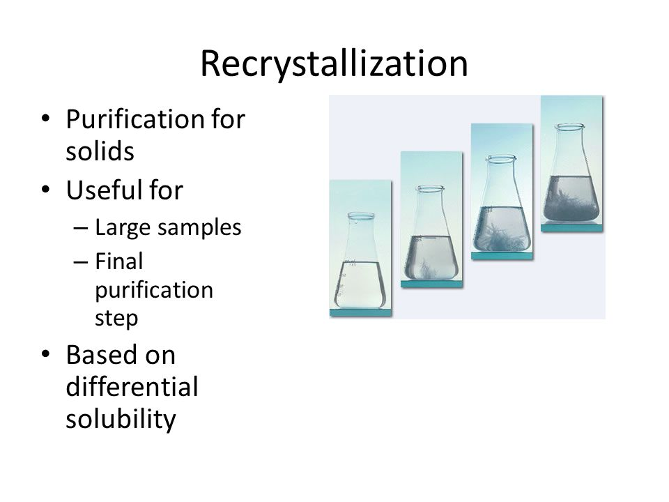 the purity and purification of solids Recrystallization is the second technique, and it is used to purify solids with a  small  nmr spectrum and ir spectrum are recommended to test the purity of  final.
