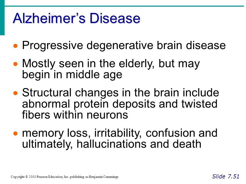 alzheimers degenerative brain process The two major degenerative causes of dementia are alzheimer's  and vascular dementia (ie loss of brain function due to a series of  alzheimer's disease.