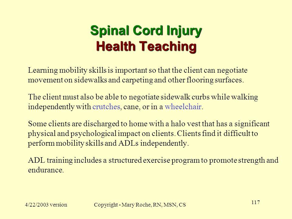 Spinal Cord Injury Health Teaching