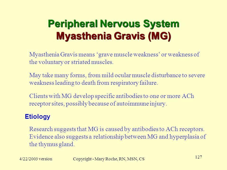 Peripheral Nervous System Myasthenia Gravis (MG)