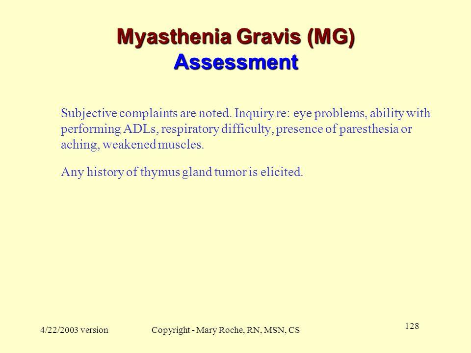 Myasthenia Gravis (MG) Assessment