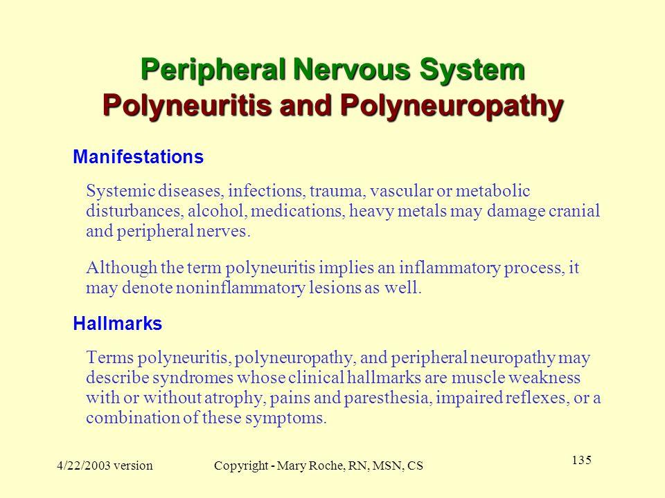 Peripheral Nervous System Polyneuritis and Polyneuropathy