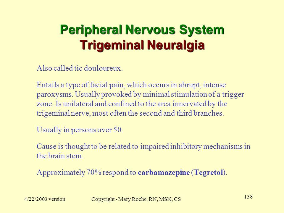 Peripheral Nervous System Trigeminal Neuralgia