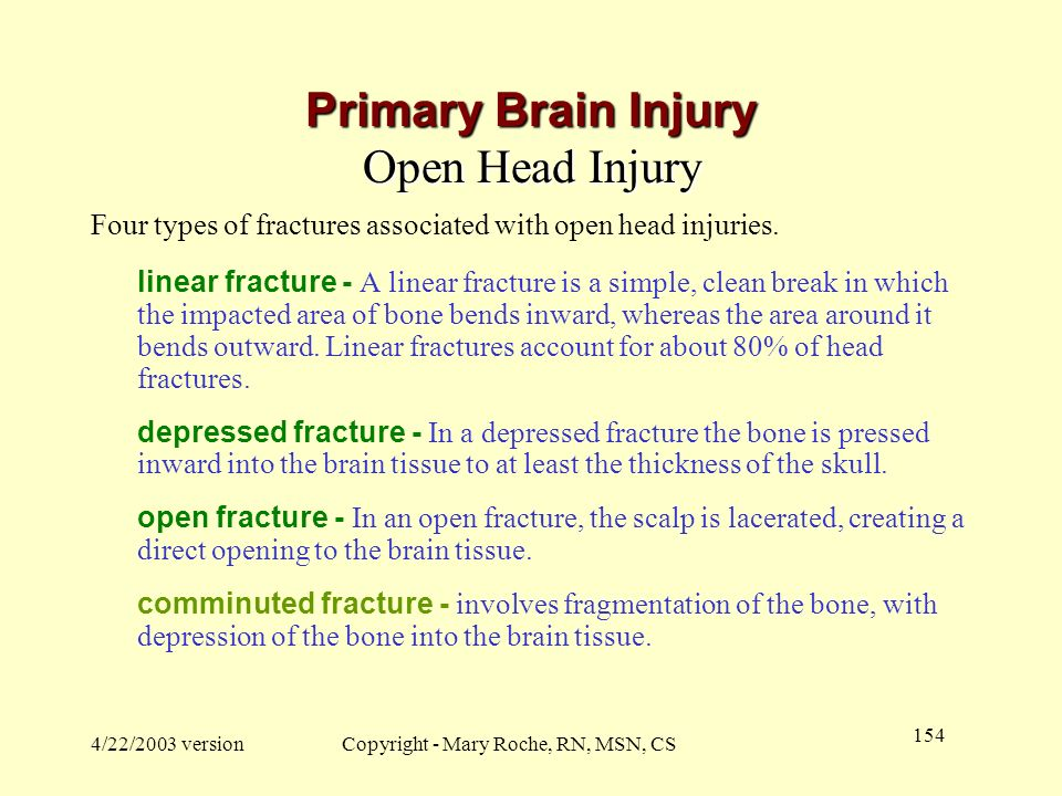 Primary Brain Injury Open Head Injury