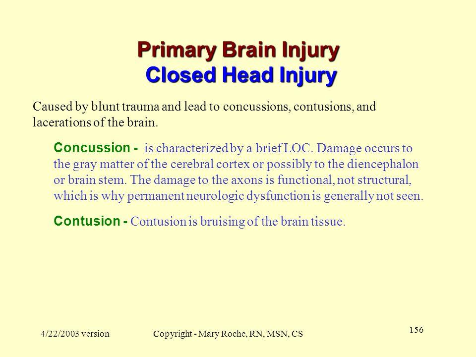 Primary Brain Injury Closed Head Injury