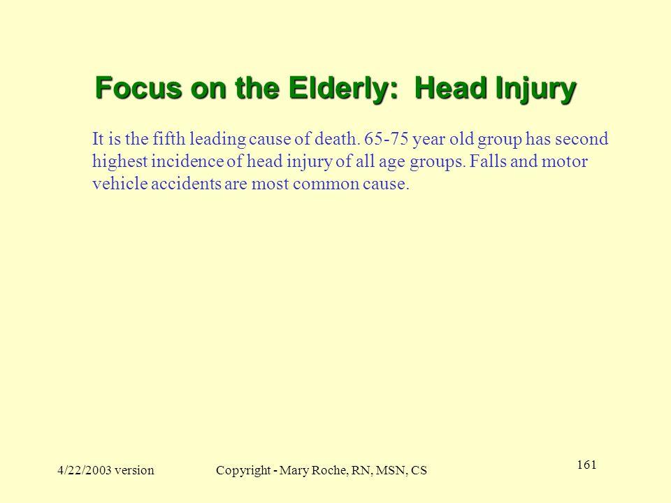 Focus on the Elderly: Head Injury