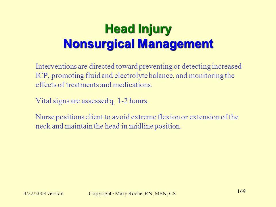 Head Injury Nonsurgical Management