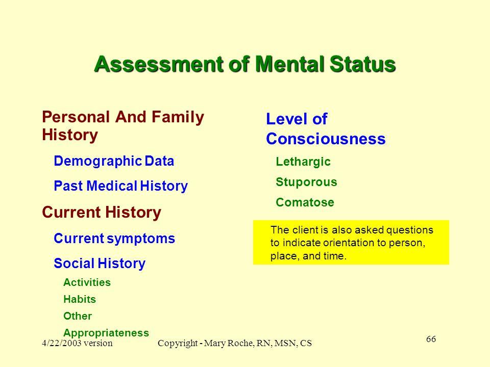 Assessment of Mental Status