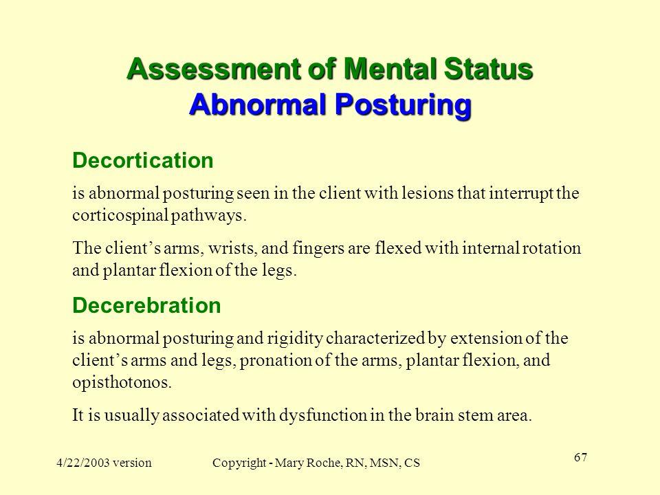 Assessment of Mental Status Abnormal Posturing