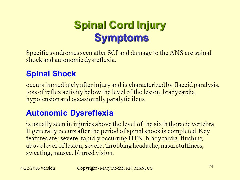 Spinal Cord Injury Symptoms