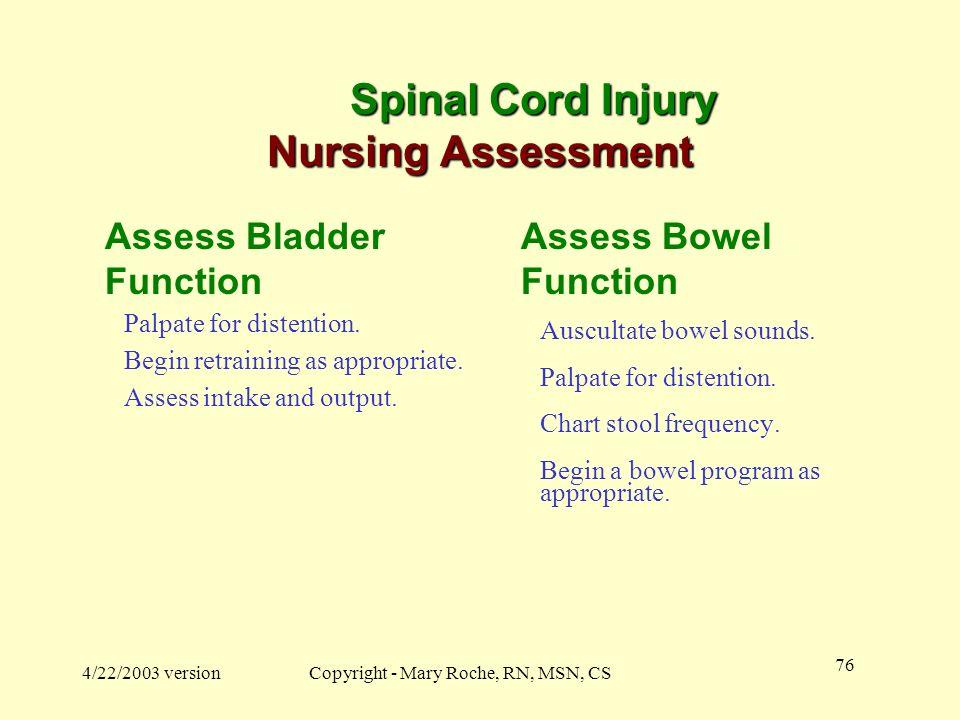 Spinal Cord Injury Nursing Assessment